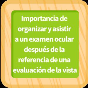 Importancia de organizar y asistir a un examen ocular después de la referencia de una evaluación de la vista