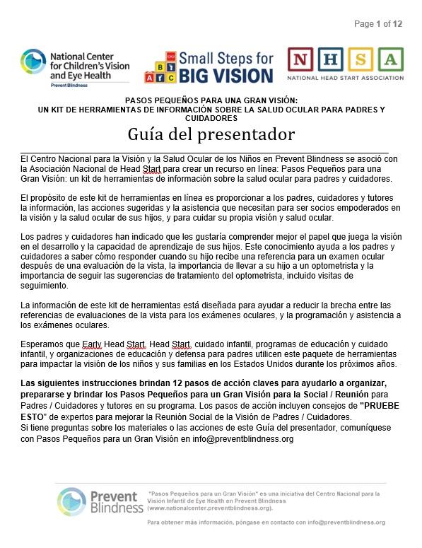 Page 1 of 13 PASOS PEQUEÑOS PARA UNA GRAN VISIÓN: UN KIT DE HERRAMIENTAS DE INFORMACIÓN SOBRE LA SALUD OCULAR PARA PADRES Y CUIDADORES Guí a del presentador